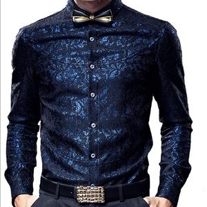 a9e07c365e Lolita Black Dress w/ White Collar Navy Lace Embroidered Men's Button Down  Shirt ...
